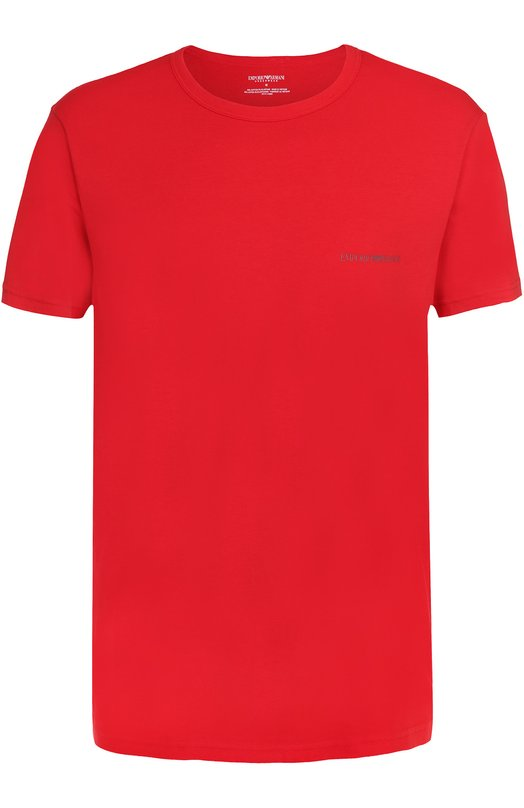 Хлопковая футболка с круглым вырезом Emporio Armani 110853/7P717
