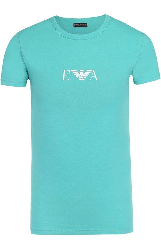 Хлопковая футболка с круглым вырезом Emporio Armani 111035/7P715