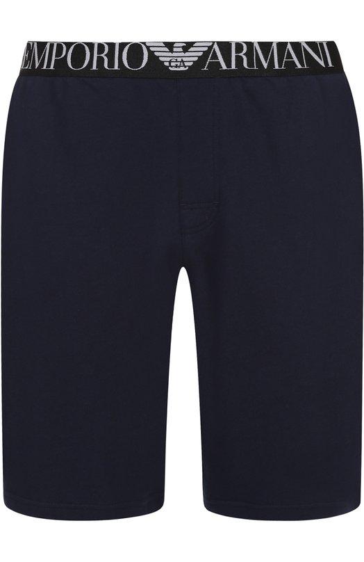 Хлопковые домашние шорты свободного кроя Emporio Armani 111329/7P571