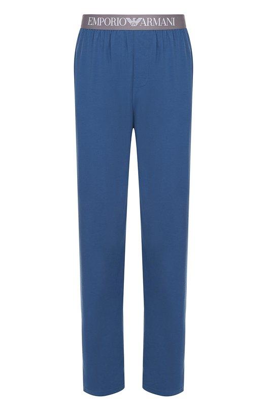 Хлопковые домашние брюки свободного кроя Emporio Armani 111403/7P729