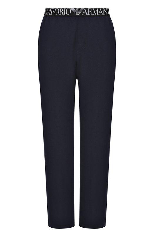 Хлопковые домашние брюки свободного кроя Emporio Armani 111501/7P571