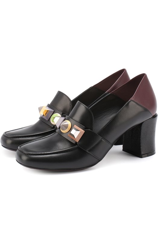 Кожаные туфли с декорированной перемычкой Fendi 8D6380/86N