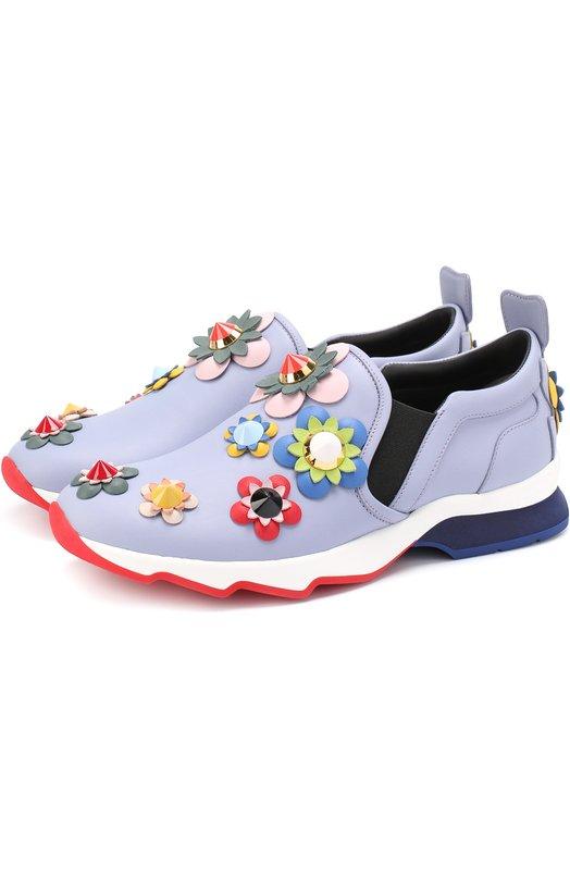 Кожаные кроссовки с цветочной аппликацией Fendi 8E6006/7M2
