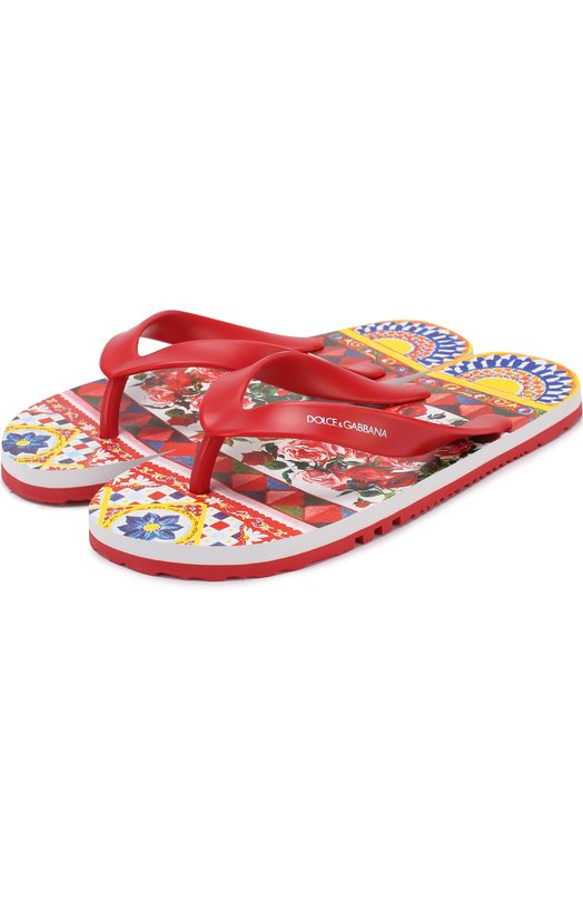 Резиновые шлепанцы с принтом Dolce & Gabbana 0132/D00128/AR821/29-36