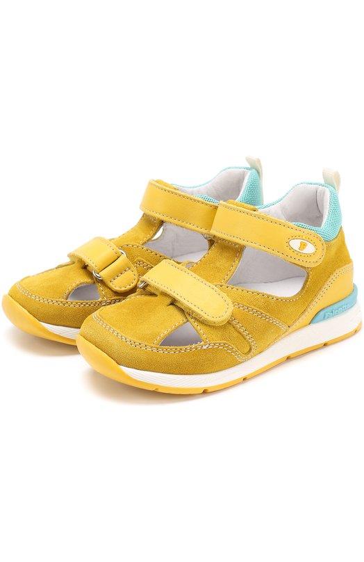 Замшевые сандалии с застежками велькро и отделкой из кожи Falcotto 0011500614/01