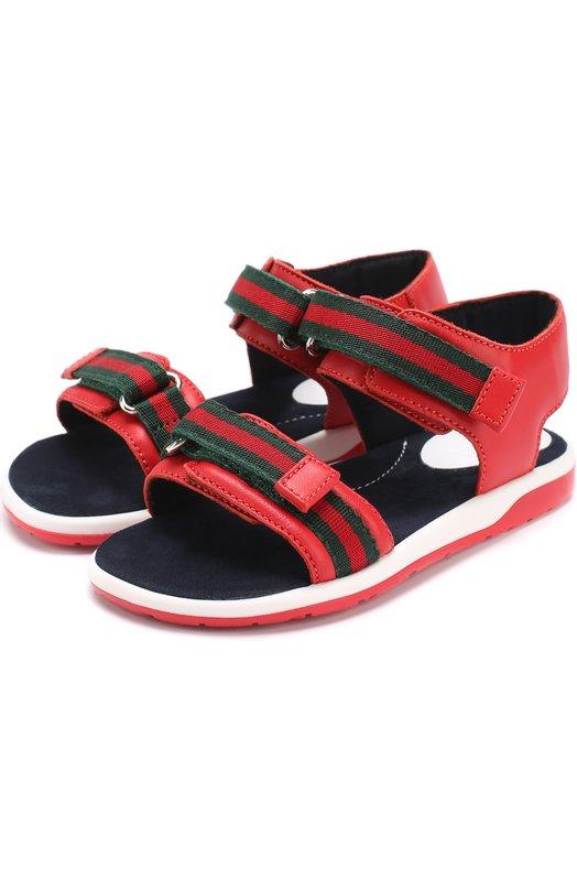Кожаные сандалии с застежками велькро Gucci 257759/BLN10