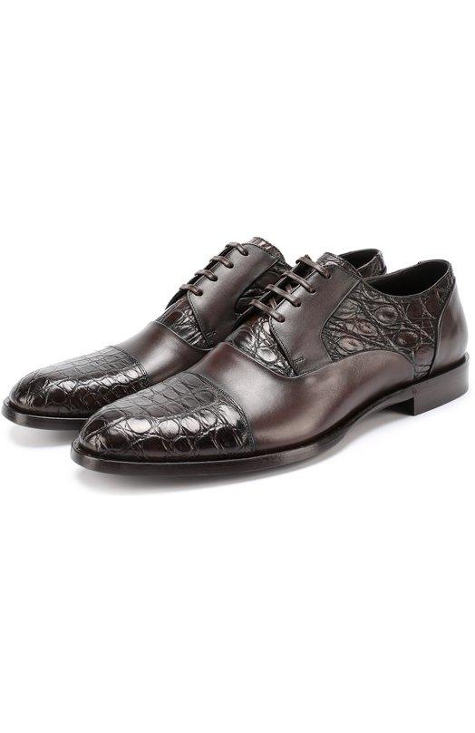 Классические кожаные дерби Napoli с отделкой из кожи крокодила Dolce & Gabbana 0111/A10165/A2N54