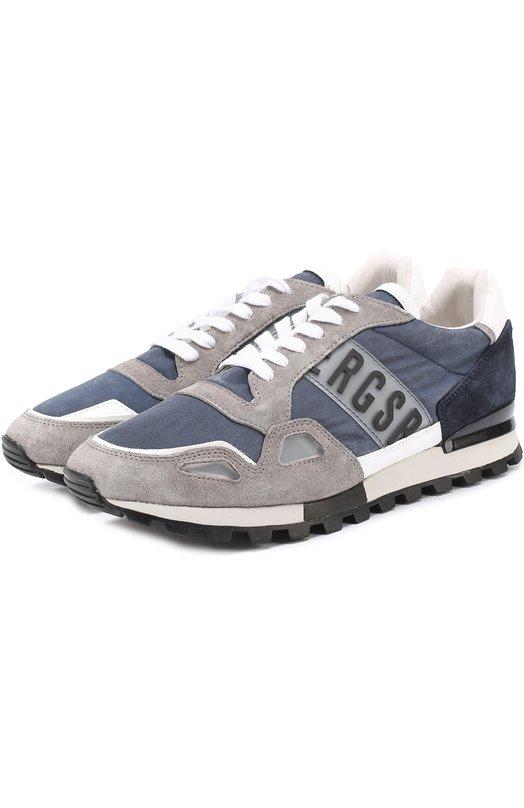 Комбинированные кроссовки на шнуровке Dirk Bikkembergs BKE108657