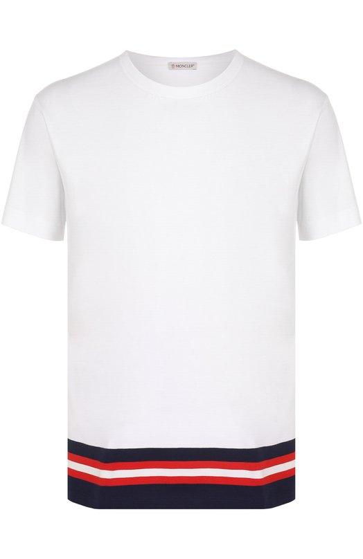 Хлопковая футболка с контрастной отделкой Moncler C1-091-80169-00-8390E