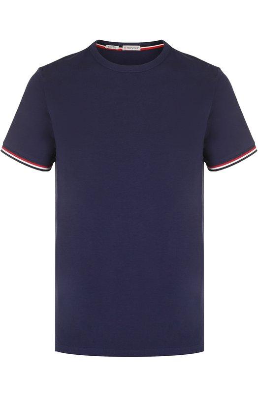 Хлопковая футболка с контрастной отделкой Moncler C1-091-80199-00-87296