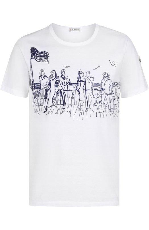 Хлопковая футболка с контрастной вышивкой Moncler C1-091-80368-50-82565