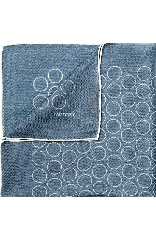 Купить Шелковый платок с узором Tom Ford, 9TF78TF312/9TF76, Италия, Голубой, Шелк: 100%;
