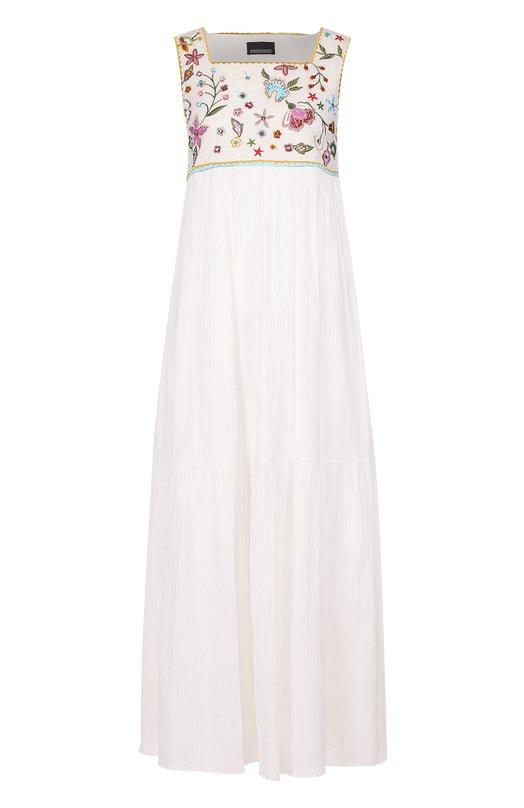Платье свободного кроя с завышенной талией и контрастной вышивкой Ermanno Scervino 40T/AB40