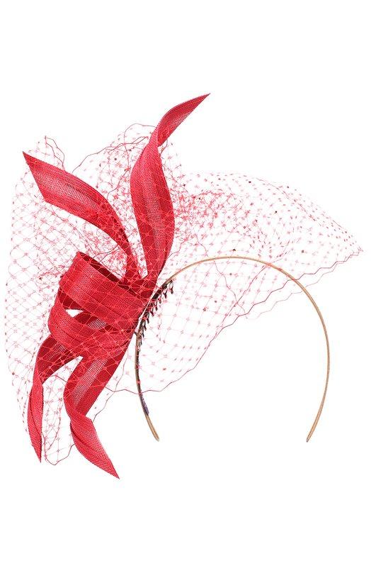 Купить Вечерняя шляпа с декором и кружевом Philip Treacy, 0C266, Великобритания, Красный, Соломка: 100%;