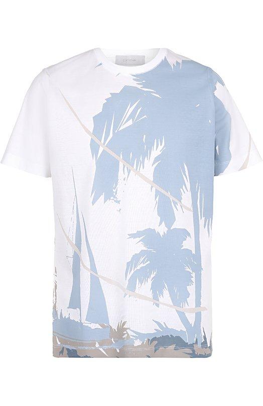Купить Хлопковая футболка с принтом Cortigiani, 216607/0000, Италия, Белый, Хлопок: 100%;