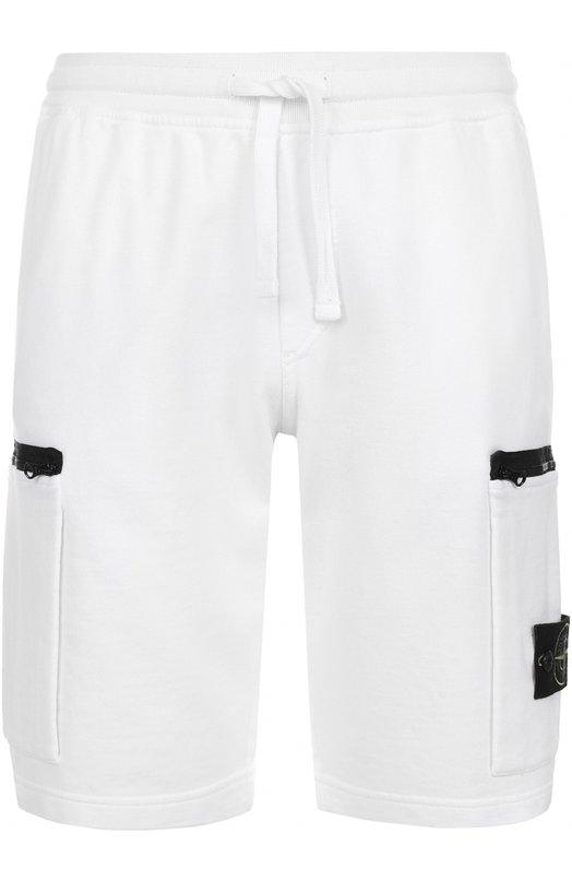 Хлопковые шорты свободного кроя с накладными карманами Stone Island 661560840
