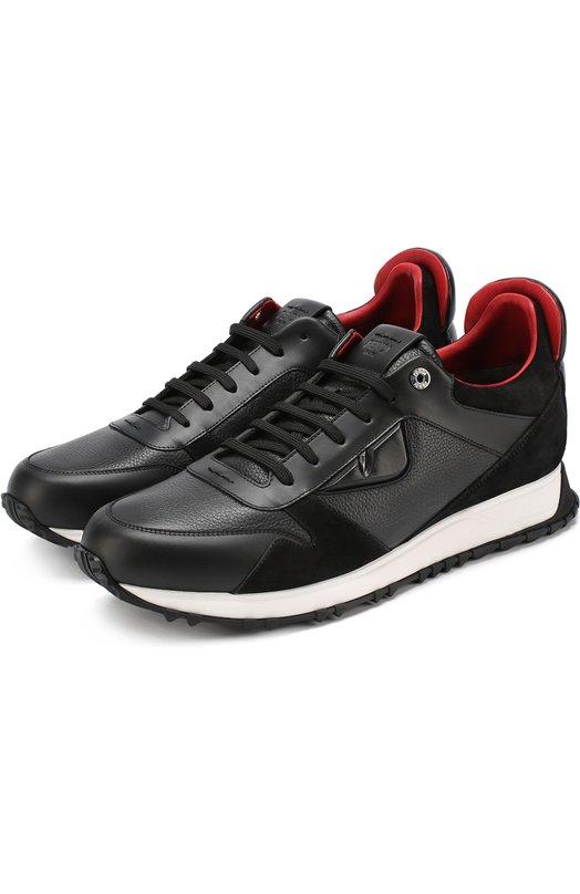 Кожаные кроссовки на шнуровке с отделкой из натурально замши Fendi 7E1032/SPU