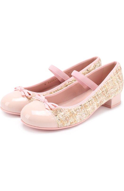 Комбинированные туфли с лаковой отделкой и декором Pretty Ballerinas 44.103/SHADE BEBE