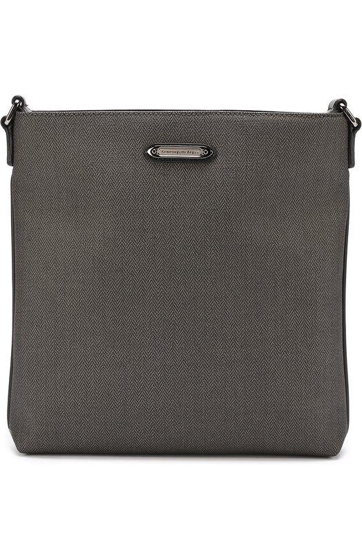 Сумка-планшет с внешним карманом на молнии и отделкой из натуральной кожи Ermenegildo Zegna C1245ASPG