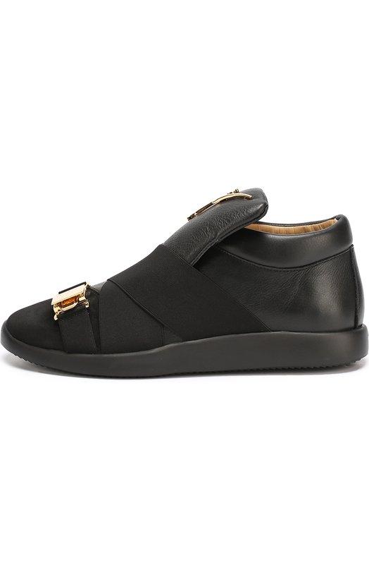 Высокие кожаные кроссовки без шнуровки с декоративными ремешками Giuseppe Zanotti Design RM7071002