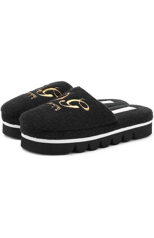 Купить Домашние туфли с вышивкой Dolce & Gabbana, 0112/CI0005/AG822, Италия, Черный, Хлопок: 80%; Полиамид: 20%; Подошва-резина: 100%; Стелька-текстиль: 100%;