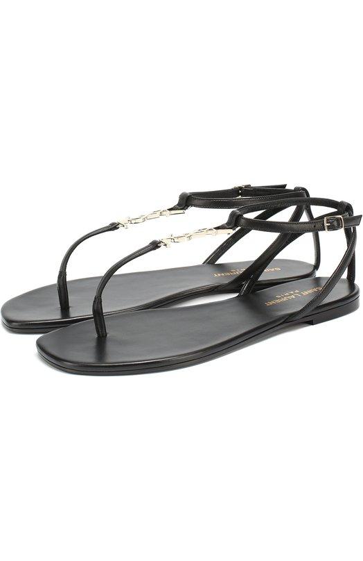 Кожаные сандалии с логотипом бренда Saint Laurent 466680/B34JJ
