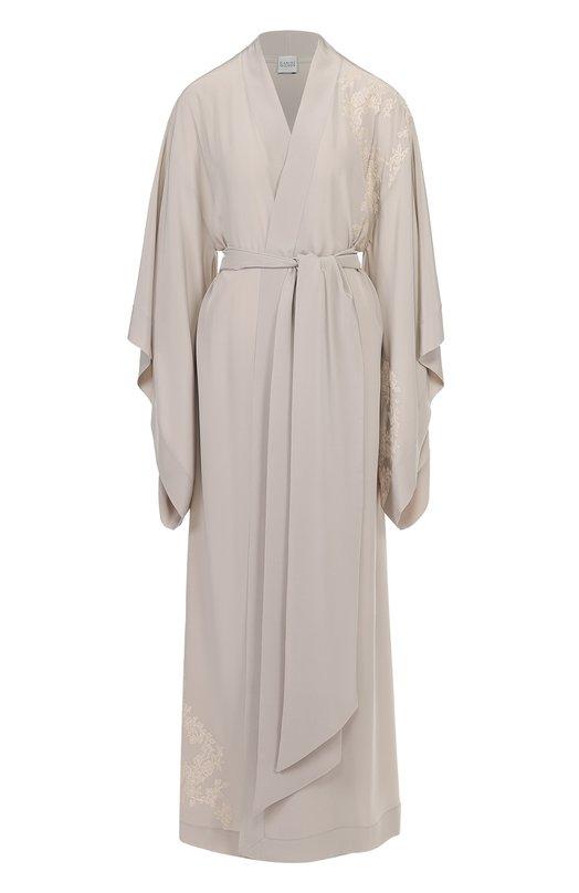 Шелковый халат с асимметричными рукавами и поясом Carine Gilson CR0108GN-C17