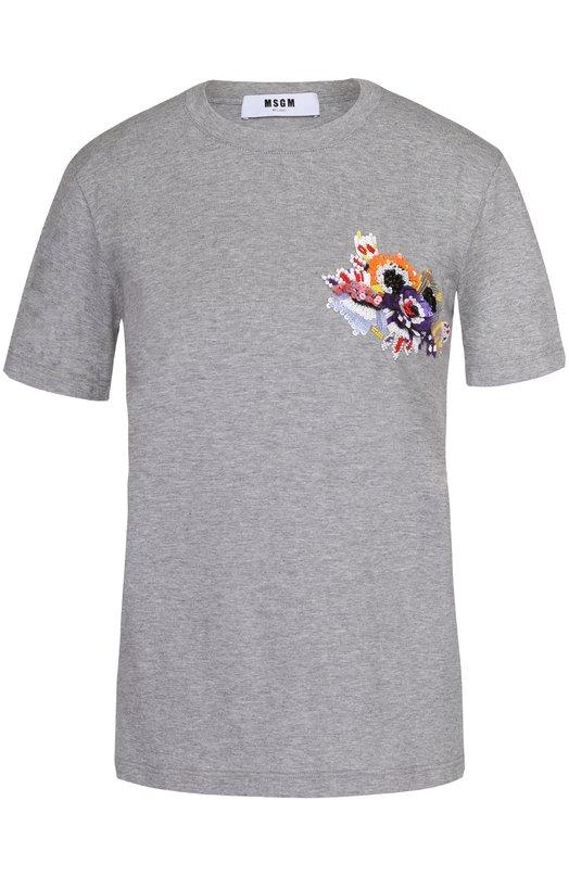 Хлопковая футболка прямого кроя с контрастной отделкой пайетками MSGM 2241MDM100X/174296