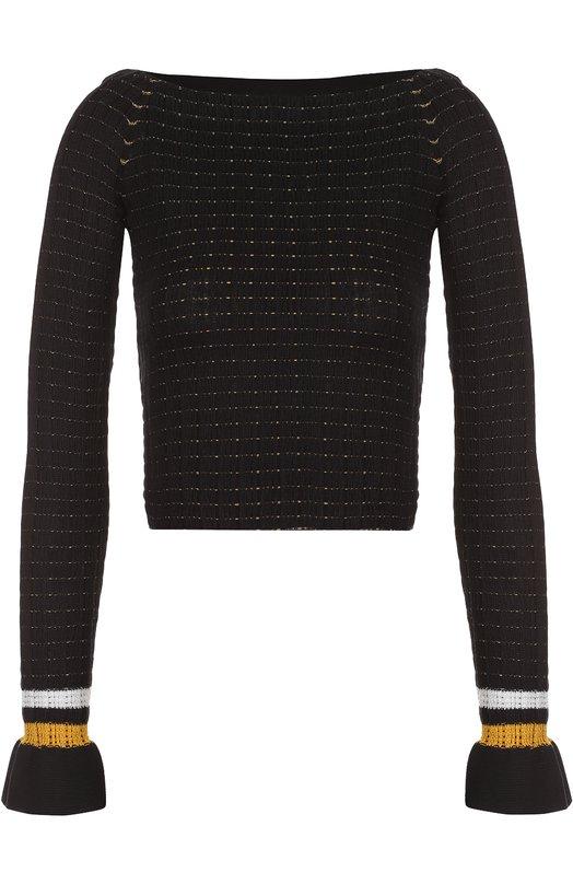 Облегающий пуловер с открытыми плечами и контрастной отделкой 3.1 Phillip Lim E172-7762FCS