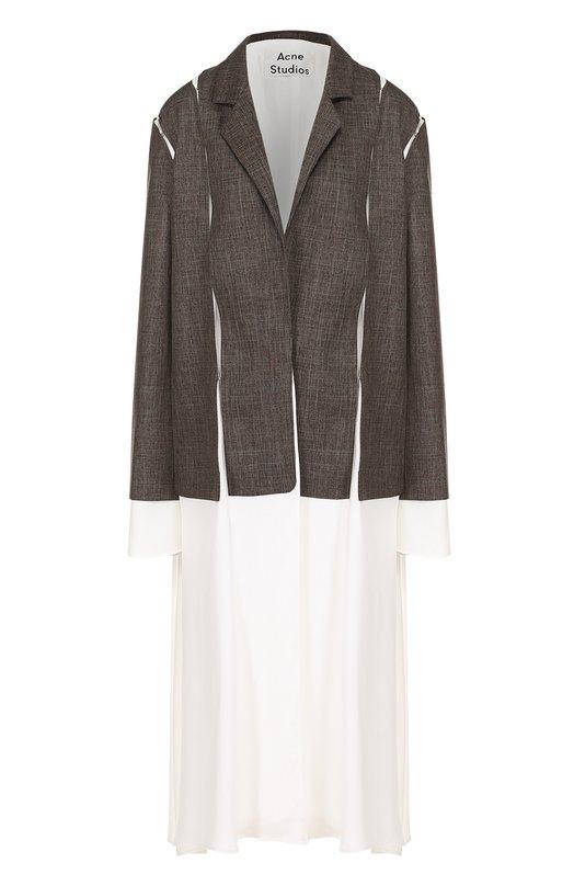 Хлопковое пальто свободного кроя с узкими лацканами Acne Studios 12W166