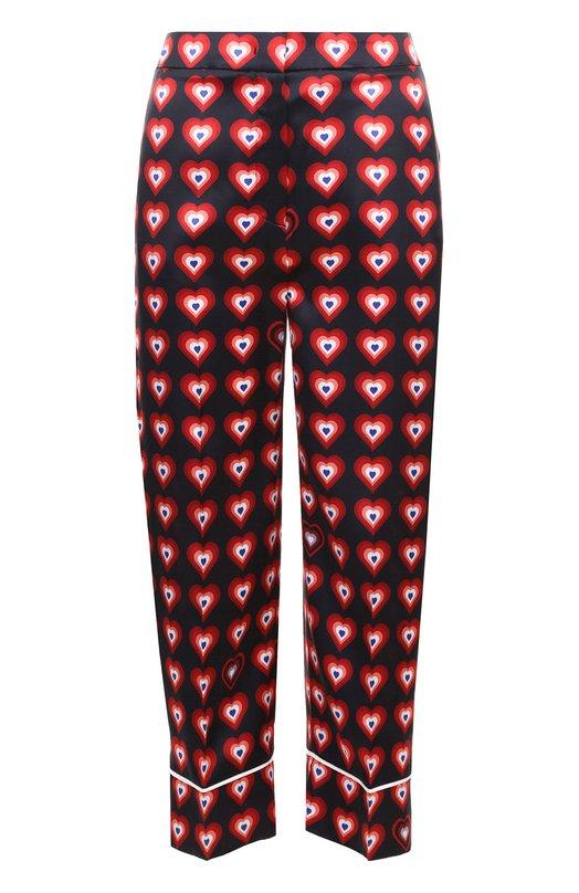 Шелковые укороченные брюки с контрастным принтом Fendi FR6057/9BX