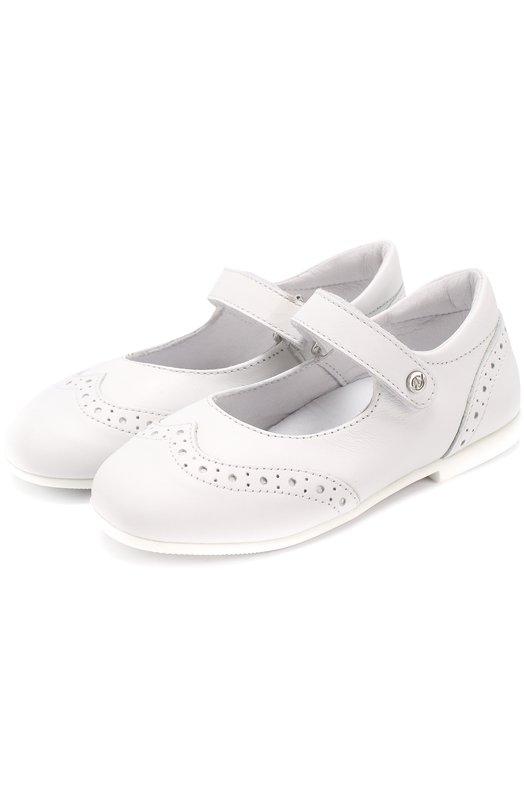 Кожаные туфли с брогированием и застежкой велькро Naturino 0012011024/01