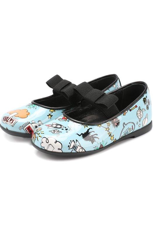 Лаковые туфли с принтом и бантом Fendi Roma JFR071/STY/19-26