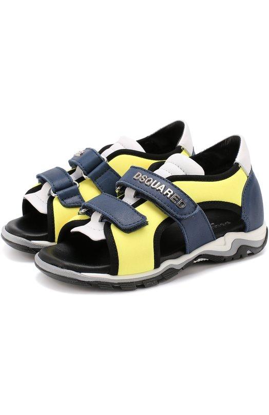 Комбинированные сандалии с застежками велькро Dsquared2 48683/20-27