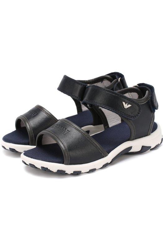 Кожаные сандалии с застежками велькро Giorgio Armani 405303/7P054