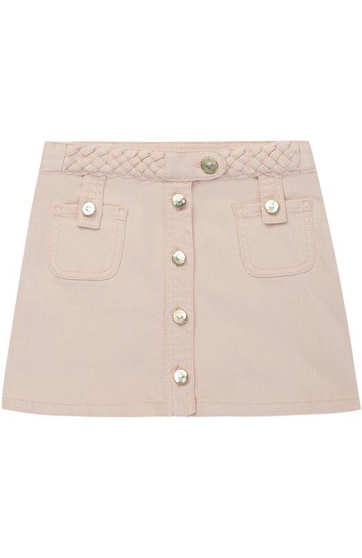 Джинсовая юбка с плетеными вставками и накладными карманами Chlo C13214/6A-12A