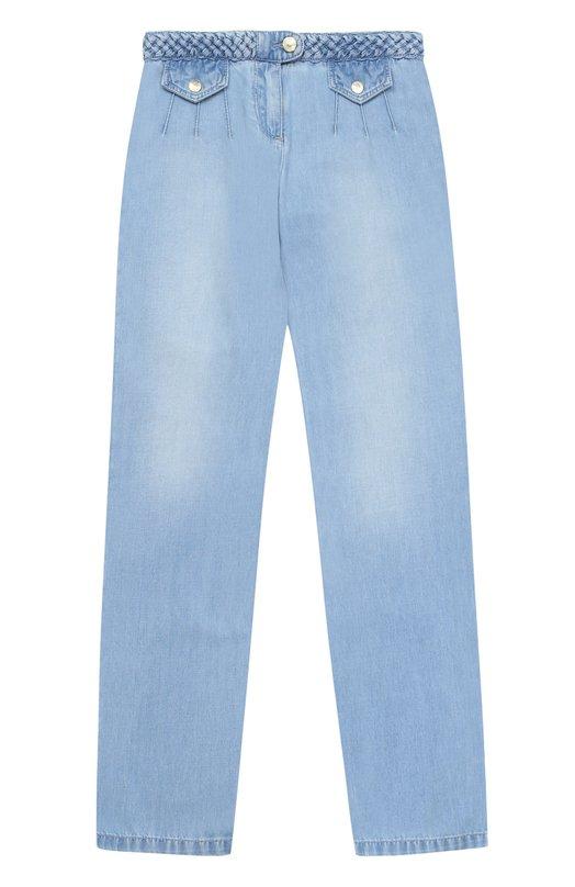 Джинсы с плетеным поясом и накладными карманами Chlo C14504/6A-12A