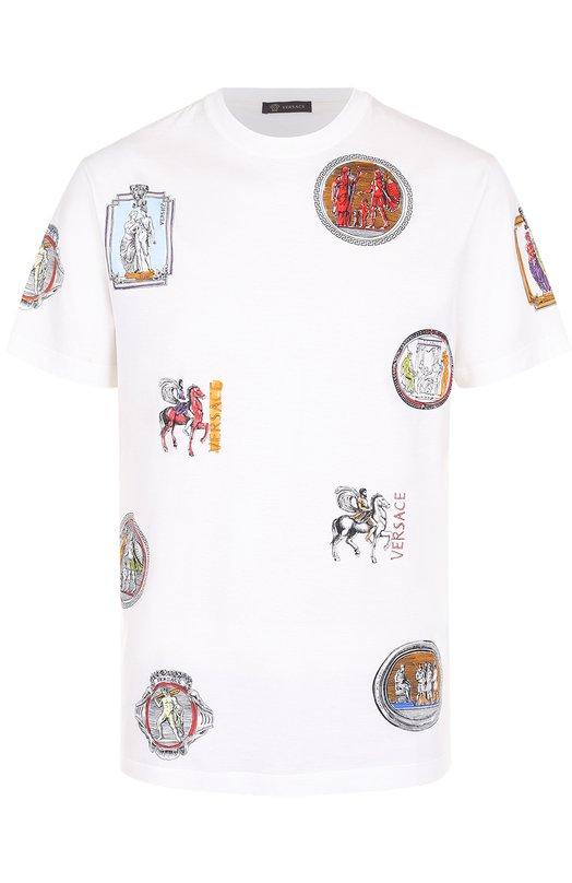 Купить Хлопковая футболка с принтом Versace, A76112/A221659, Италия, Белый, Хлопок: 100%;