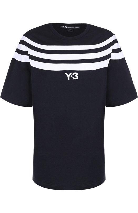 Хлопковая футболка свободного кроя с контрастной отделкой Y-3 BS3404