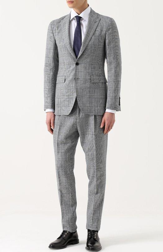 Шерстяной костюм в клетку с пиджаком на двух пуговицах Burberry 4042914