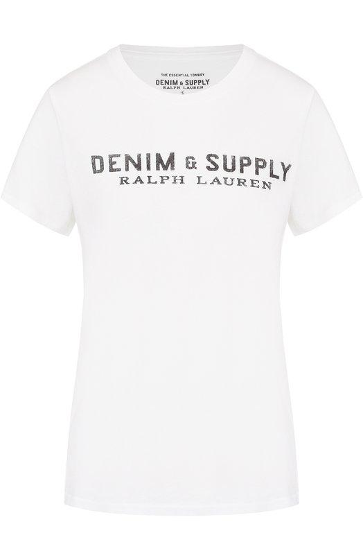 Хлопковая футболка с контрастным логотипом бренда Denim&Supply by Ralph Lauren 288635971/XW29C