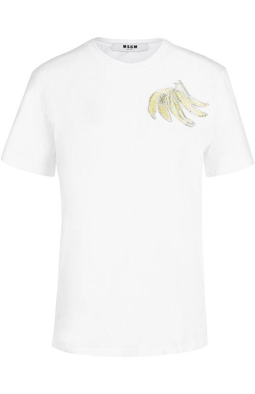 Хлопковая футболка прямого кроя с вышивкой MSGM 2242MDM165/174298