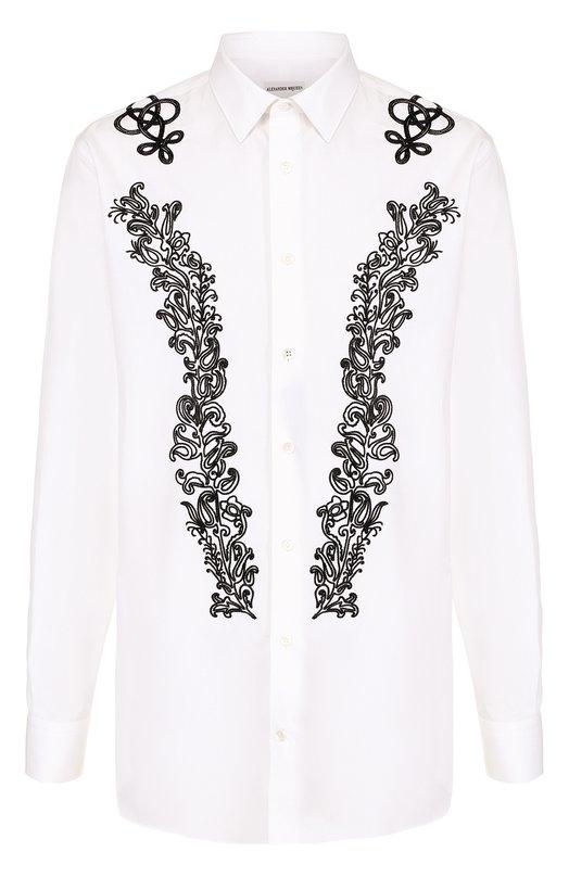 Хлопковая сорочка с контрастной вышивкой Alexander McQueen 455905/QIZT2