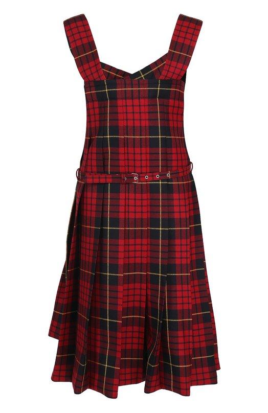Шерстяное платье в клетку с поясом Comme des Garcons GS-A008-051