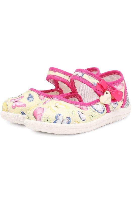 Комбинированные туфли с принтом и застежками велькро Monnalisa 839016
