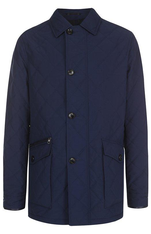 Стеганая куртка на молнии с отделкой из натуральной кожи Ermenegildo Zegna UMT30M43