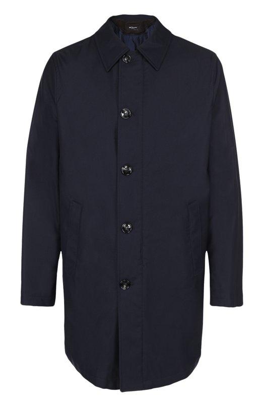 Купить Шерстяное пальто на молнии прямого силуэта Kiton, UW0125A/3N73, Италия, Темно-синий, Полиамид: 62%; Шелк: 6%; Шерсть: 53%; Подкладка-шелк: 100%;