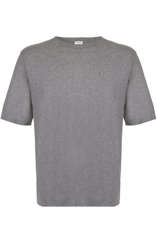 Хлопковая футболка свободного кроя с декоративными потертостями Saint Laurent 457556/Y20P1