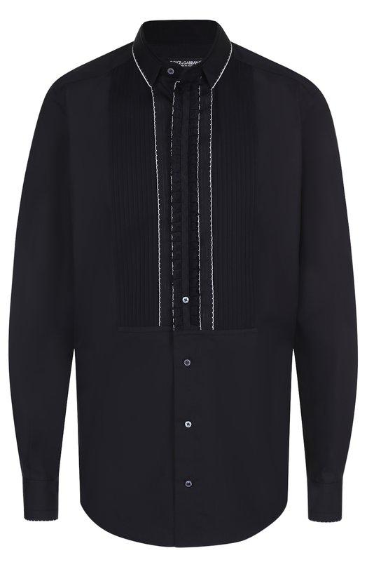Хлопковая вечерняя сорочка с шелковой отделкой Dolce & Gabbana 0101/G5EG4T/FU5GK
