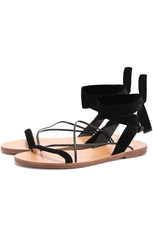Бархатные сандалии с ремешками Valentino MW0S0C59/F0W